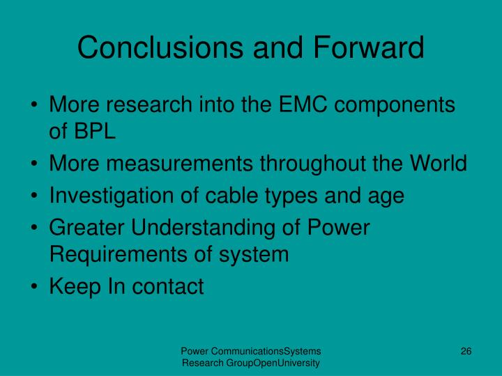 Conclusions and Forward