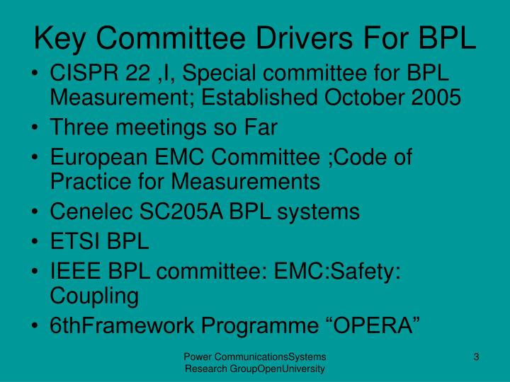 Key Committee Drivers For BPL