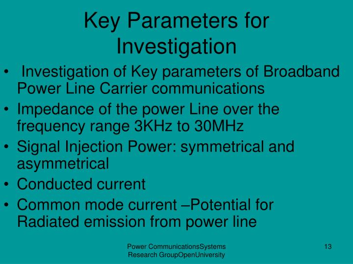 Key Parameters for Investigation