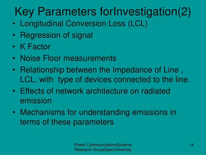 Key Parameters forInvestigation(2)