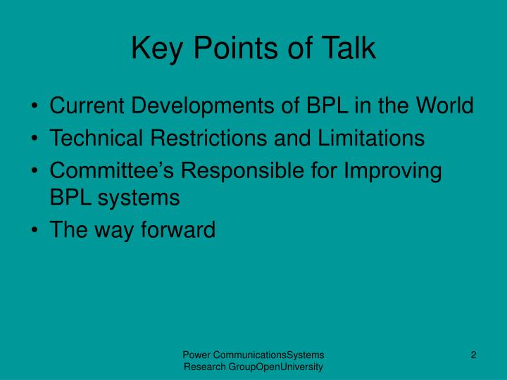 Key Points of Talk