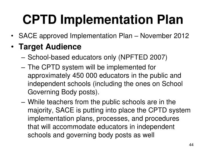CPTD Implementation Plan