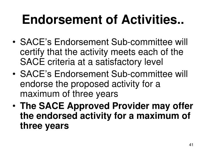 Endorsement of Activities..