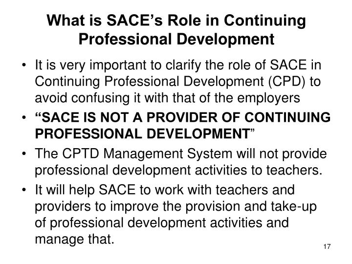What is SACE's Role in Continuing Professional Development