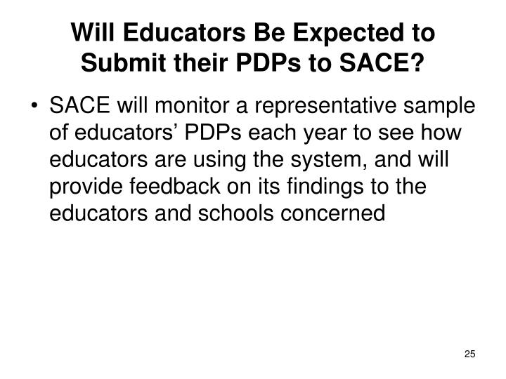Will Educators Be Expected to Submit their PDPs to SACE?