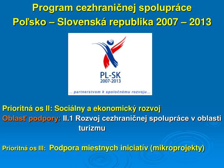 Program cezhraničnej spolupráce