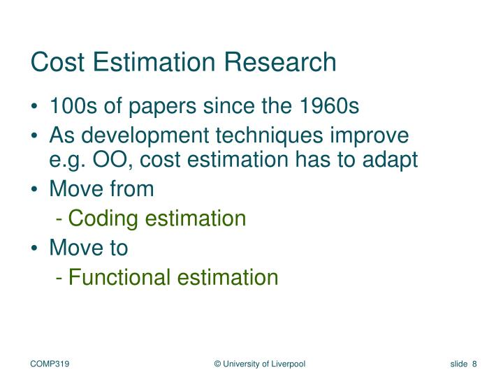 Cost Estimation Research