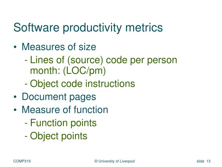 Software productivity metrics