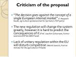 criticism of the proposal