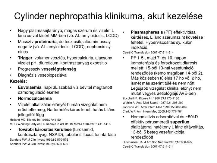 Nagy plazmasejtarányú, magas szérum és vizelet L lánc cc-val kísért MM-ben (vö. AL-amyloidosis, LCDD)