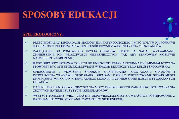 SPOSOBY EDUKACJI