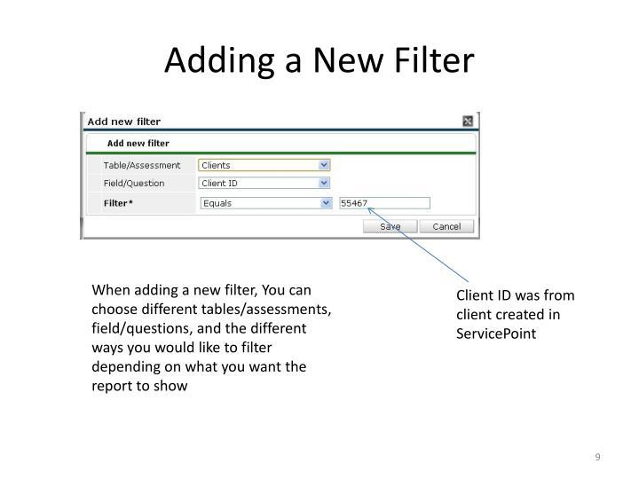 Adding a New Filter