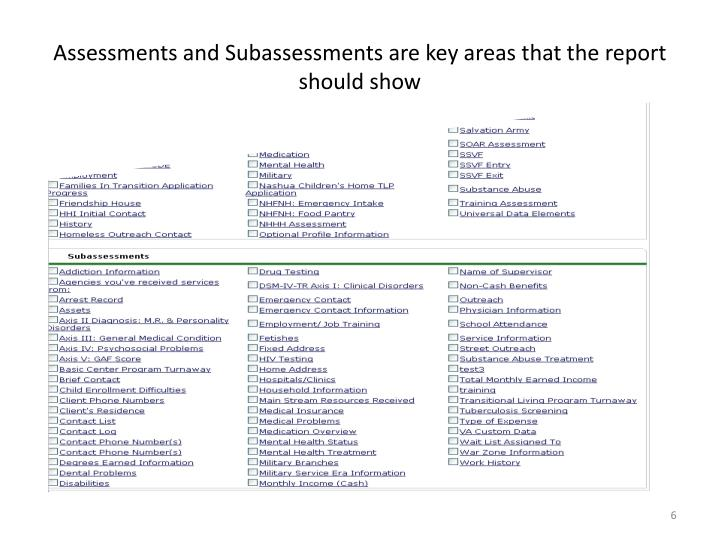 Assessments and Subassessments are key areas that the report should show