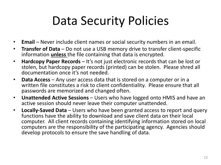 Data Security Policies