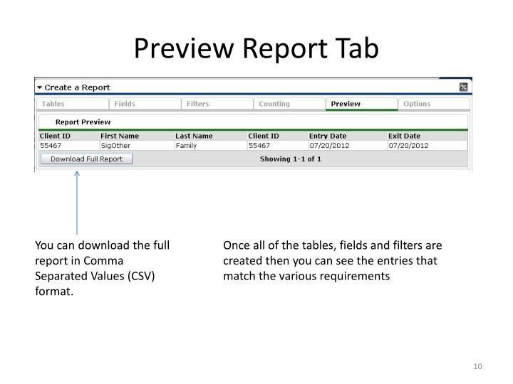 Preview Report Tab