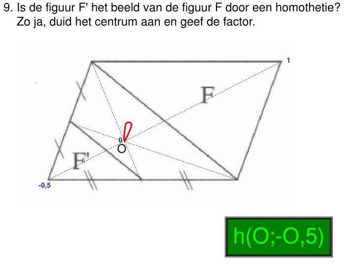 9. Is de figuur F' het beeld van de figuur F door een homothetie?