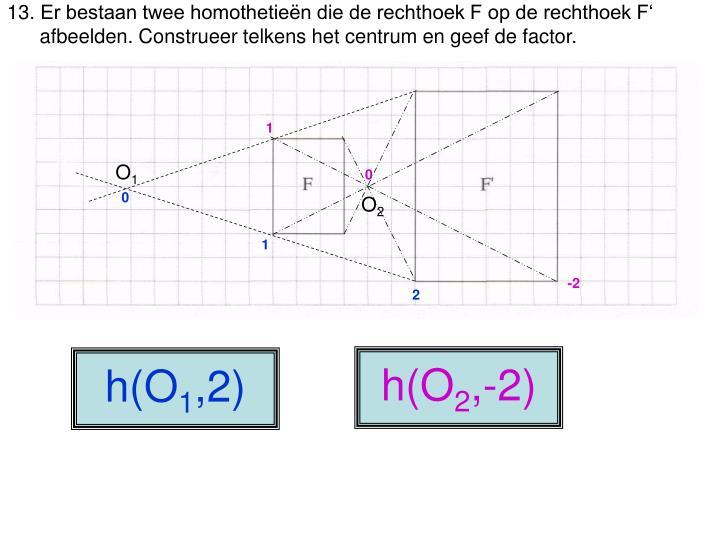 Er bestaan twee homothetieën die de rechthoek F op de rechthoek F'