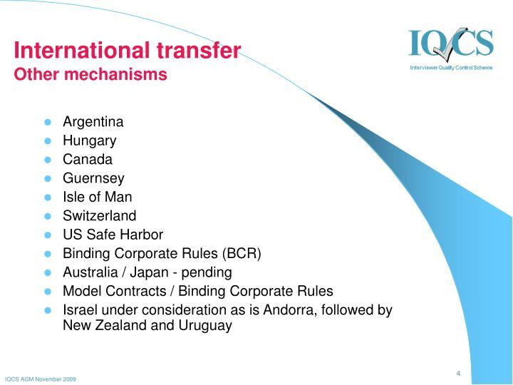 International transfer