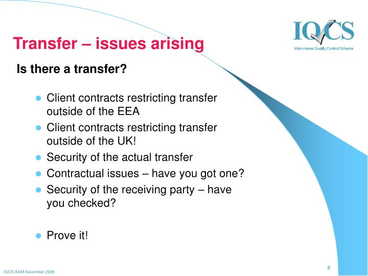 Transfer – issues arising