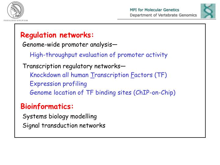 Regulation networks: