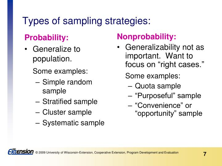 Types of sampling strategies: