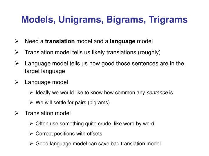 Models, Unigrams, Bigrams, Trigrams
