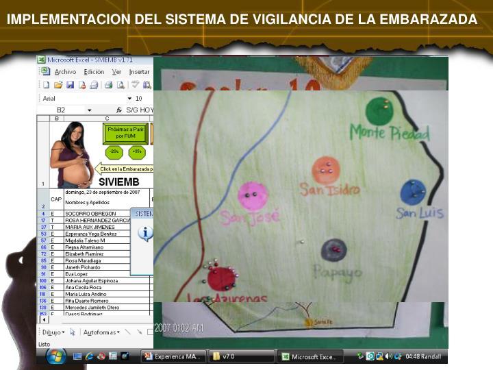 IMPLEMENTACION DEL SISTEMA DE VIGILANCIA DE LA EMBARAZADA