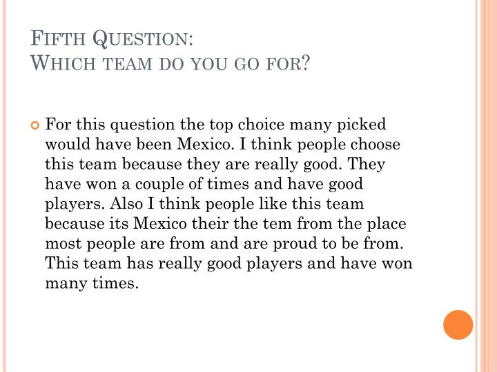 Fifth Question: