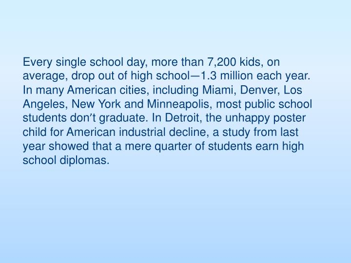 Every single school day, more than 7,200 kids, on average, drop out of high school