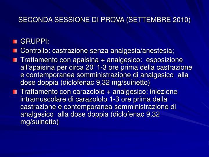 SECONDA SESSIONE DI PROVA (SETTEMBRE 2010)