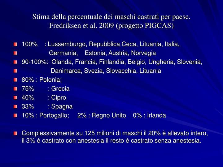 Stima della percentuale dei maschi castrati per paese.