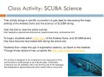 class activity scuba science