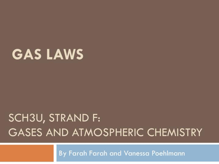 sch3u strand f gases and atmospheric chemistry