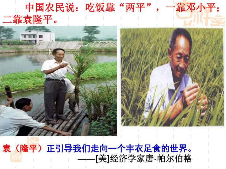 """中国农民说:吃饭靠""""两平"""",一靠邓小平;二靠袁隆平。"""