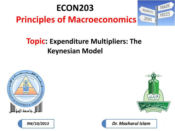 Econ203 principles of macroeconomics topic expenditure multipliers the keynesian model