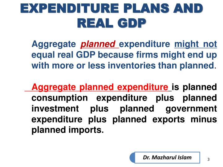 Expenditure plans and real gdp1
