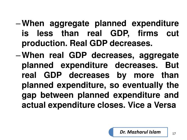 When aggregate planned expenditure is less than real GDP, firms cut production. Real GDP decreases.