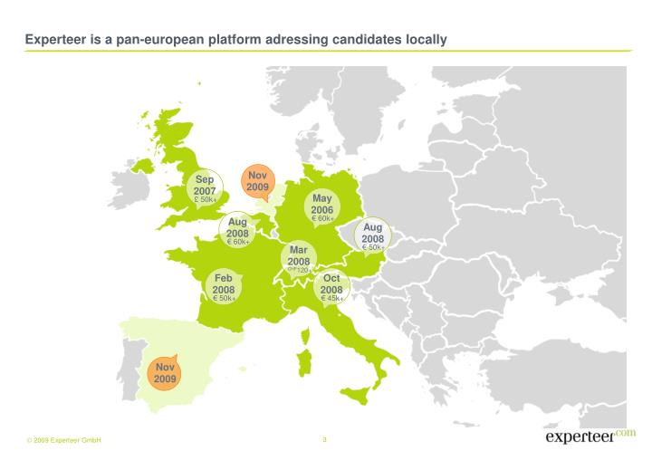 Experteer is a pan european platform adressing candidates locally