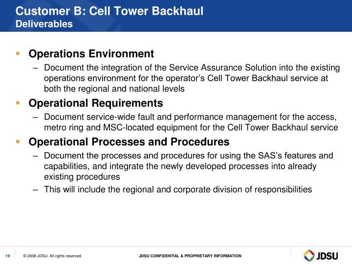 Customer B: Cell Tower Backhaul