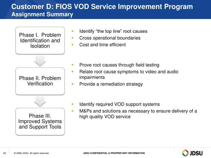Customer D: FIOS VOD Service Improvement Program