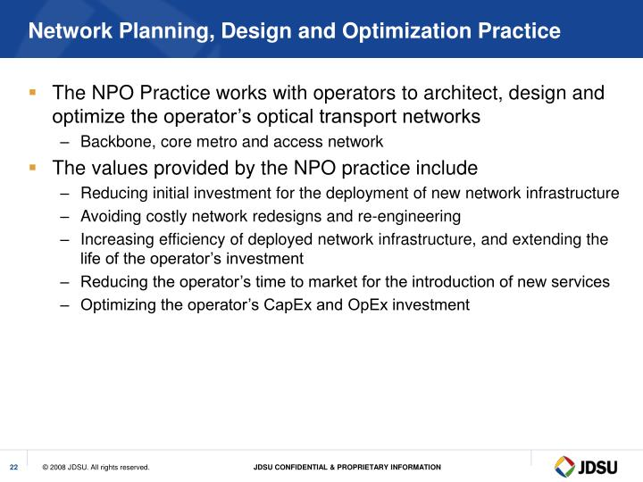 Network Planning, Design and Optimization Practice