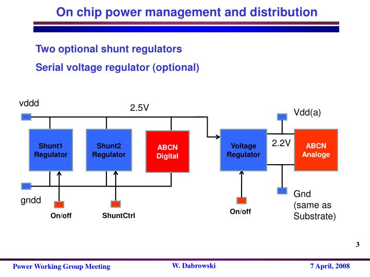 On chip power management and distribution