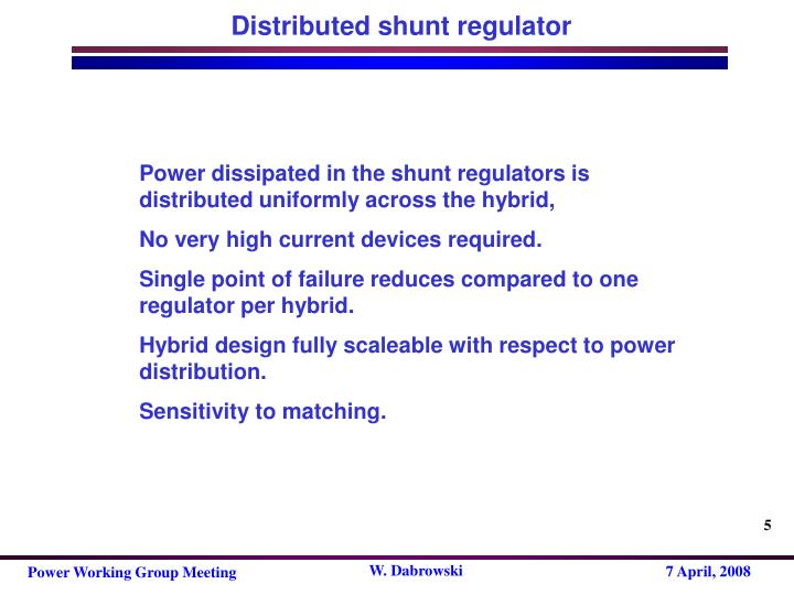 Distributed shunt regulator