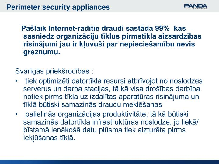 Perimeter security appliances