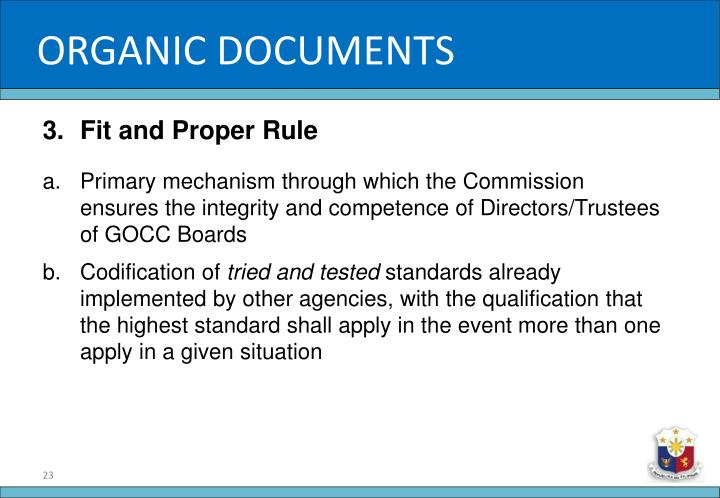 ORGANIC DOCUMENTS