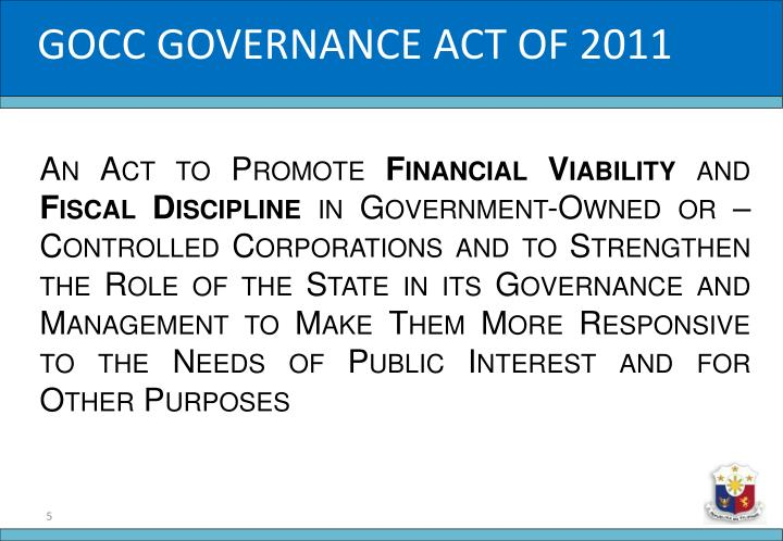 GOCC GOVERNANCE ACT OF 2011