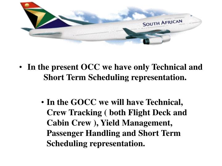 In the present OCC we have only Technical and Short Term Scheduling representation.