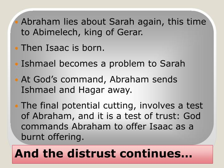 Abraham lies about Sarah again, this time to Abimelech, king of Gerar.
