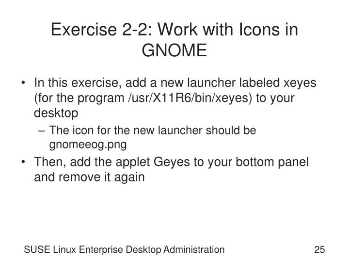 Exercise 2-2: Work with Icons in GNOME