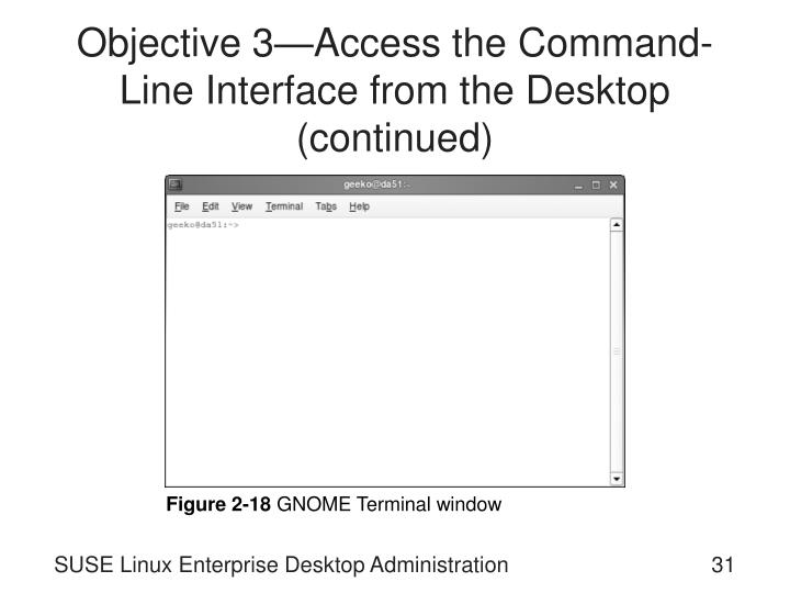 Objective 3—Access the Command-Line Interface from the Desktop (continued)